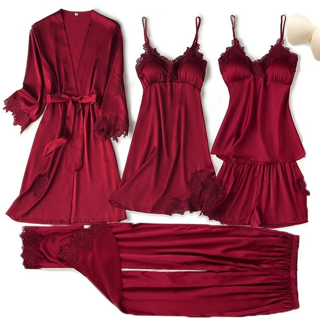 5PCS Pajama Set Women Lace Trim Satin Sleepwear Suit Pyjamas Summer Bridal Wedding Nightwear Casual Home Wear Kimono Bath Gown