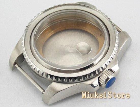 43mm carcasa plateada de cristal de zafiro abertura para fecha funda pulida ajuste ETA 2836 Mingzhu 2813 accesorios de reloj de movimiento