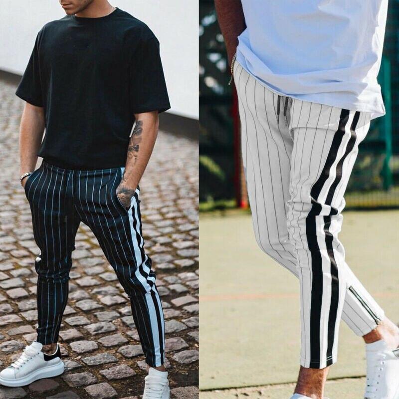Casual Mens Slim Fit chándal negro blanco rayas deporte gimnasio Skinny Jogging Joggers pantalones de sudor Pantalones