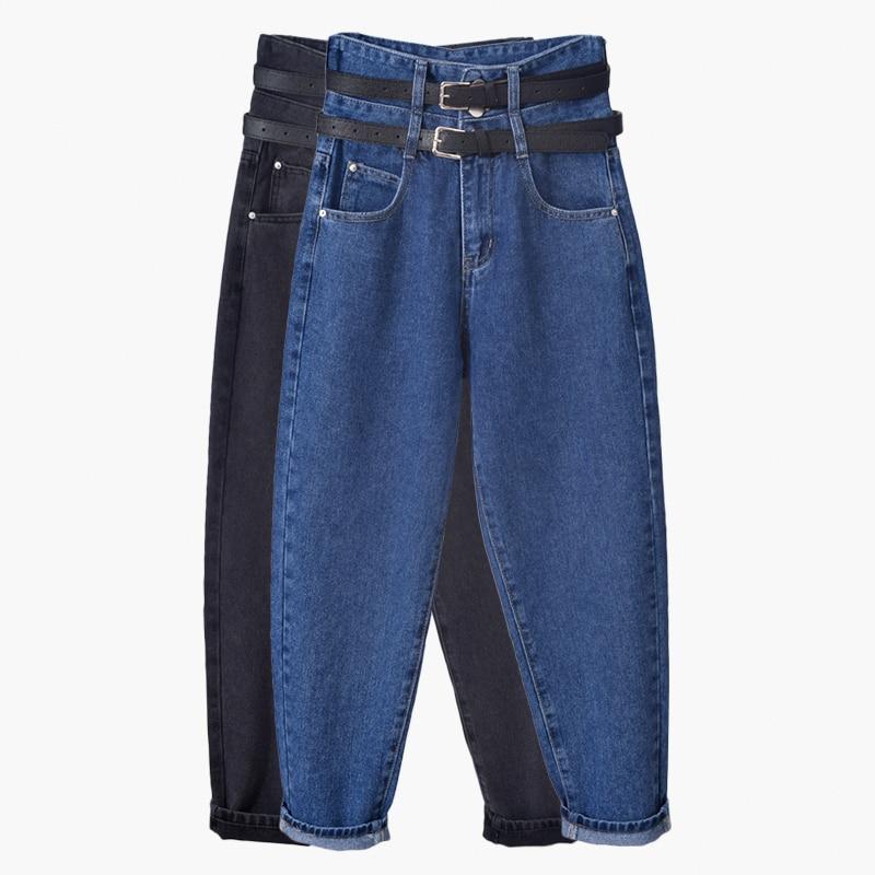 بنطلون جينز نسائي بخصر عالٍ ، فضفاض ، سارويل ، ملابس الشارع ، أرجل واسعة ، خصر مرتفع ، دنيم ، فضفاض ، أزرق ، أسود ، ملابس نسائية