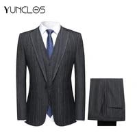 yunclos business mens blazers men suits weddingparty formal suit sets for men banquet style 3 pieces blazers vest plant