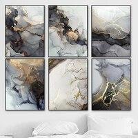 Affiche abstraite de Texture de marbre  peinture a lencre sur toile de Style nordique moderne  decoration de maison