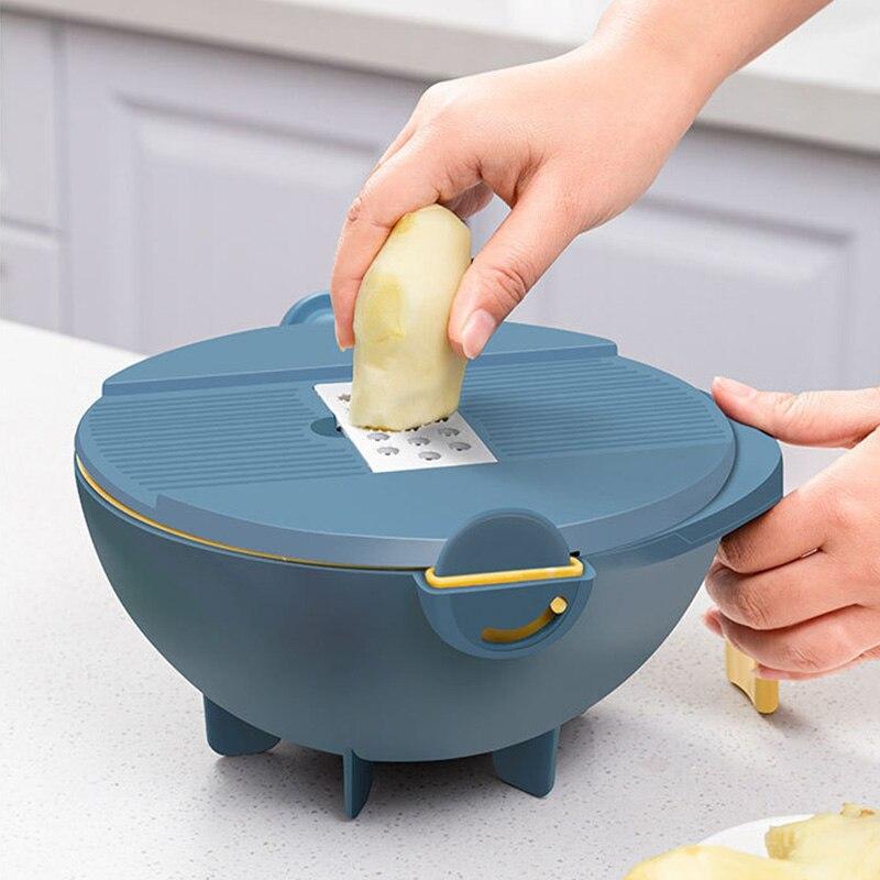 Rallador de verduras multifuncional, cortador con escurridor, cortador de verduras, drenaje, juegos de tazones, herramienta de cocina LB88