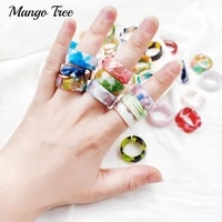 20pcslot colorful transparent resin acrylic open ring for women girl new design bohemia adjustable finger rings jewelry gifts