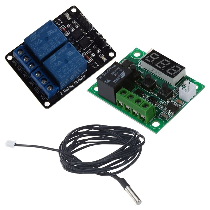 Sensor de temperatura termistor NTC de 2 M cable de sonda impermeable 10 K 1% 3950 negro + módulo de relé + DC 12V termostatos temperatura H