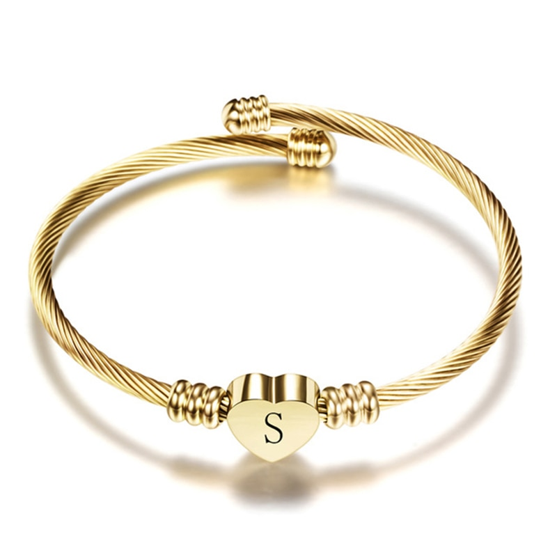 Nextvance Girls Gold Color Stainless Steel Heart Bracelet Bangle With Letter Fashion Initial Alphabet Charms Bracelets For Women недорого