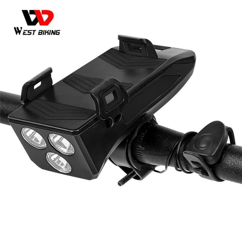 Lámpara de bicicleta WEST BIKING 4 en 1, soporte para teléfono con alarma y timbre, accesorios para bicicleta MTB, linterna de LED de ciclismo