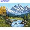 GATYZTORY 60x75cm Quadro DIY Pintura Por Números Kit Montanha de Neve Painitng Paisagem Retrato Da Arte Da Parede Da Lona Pintado À Mão para a Arte