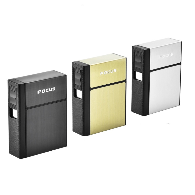 2-in-1 Cigarette Case Lighter Box For Smoking Flameless Aluminum Alloy USB Rechargeable Lighter Windproof Lighter USB Charging