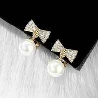 europe america bowknot drop earrings hanging imitation pearl fashion elegant charm jewelry for women christmas birthday gift