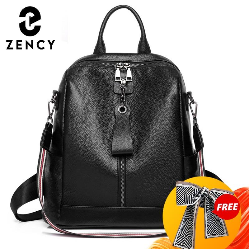 زنسي لينة جلد طبيعي على ظهره بسيطة عادية سعة كبيرة المرأة حقيبة السفر في الهواء الطلق حقيبة كتف الإناث
