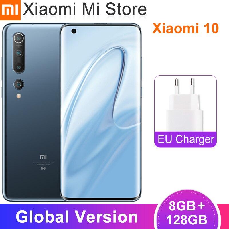 "Global Version Xiaomi Mi 10 8GB 128GB Mobile Phone 5G Smartphone 108MP Snapdragon 865 Octa Core 6.67"" AMOLED Display WIFI 6"