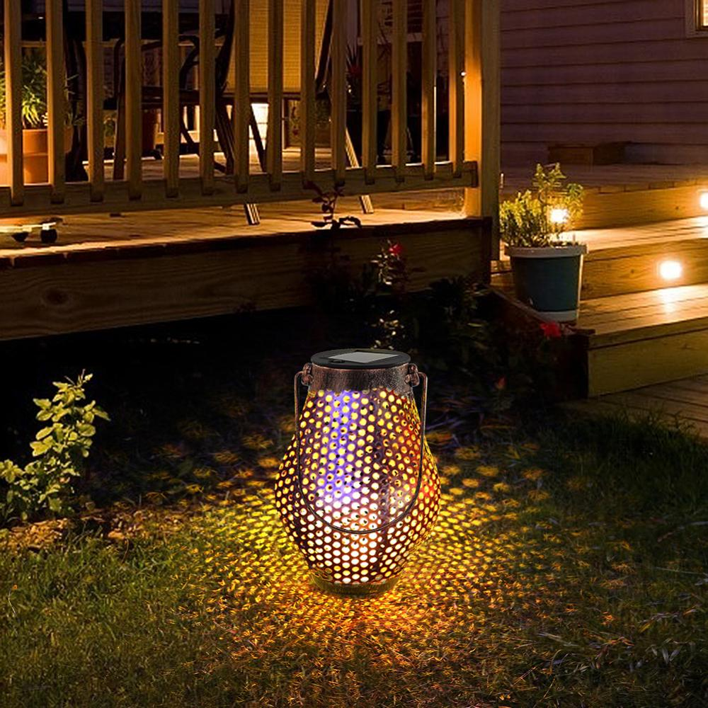 Retro Solar LED Lantern Outdoor Garden Hanging Lamp Lawn Landscape Light Path Stake Lamps Lawn Light Solar Light Pathway