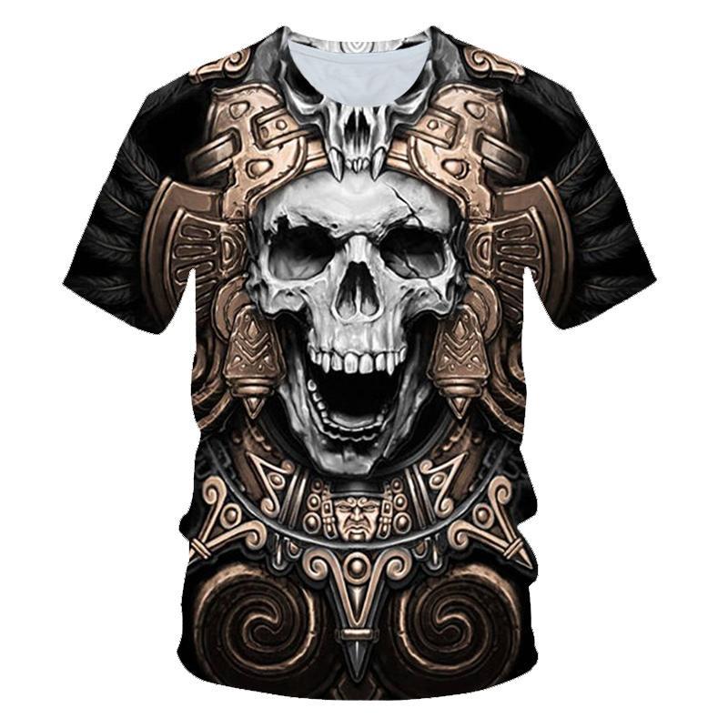 New product hot sale men's summer skull poker print men's short-sleeved T-shirt 3D T-shirt casual br