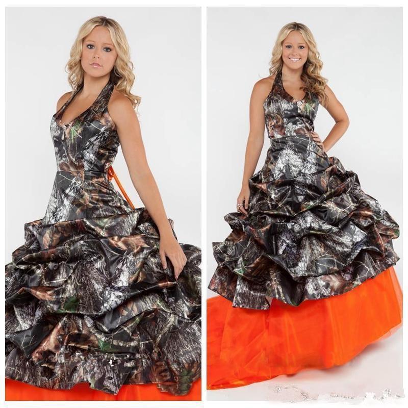 2020 Camo Camouflage Wedding Dresses Orange Tulle Skirt Wedding Bridal Gowns Custom Draped Wedding Gowns Lace Up Back Vestidos