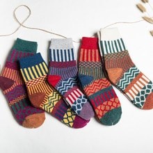 New Winter Cashmere Socks Women Lounge Striped Mid-tube Socks Warm Floor Socks Cozy Fluffy Sleep Soc