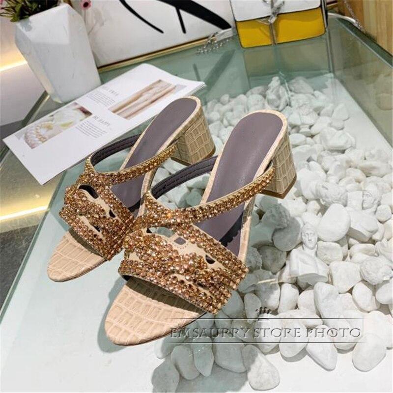 Jeweled Crystal Narrow Band Outwear Mules Genuine Leather Stone Grain Med Hoof Heel Open Toe Rhinestone Sandals Women Summer