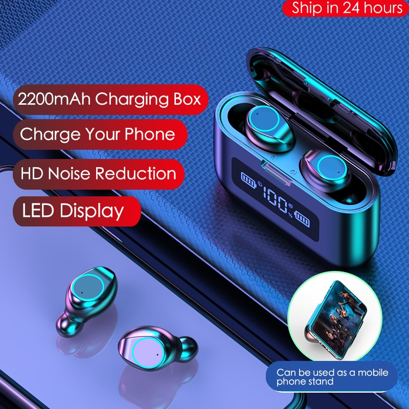 купить 2020 New Bluetooth Earphone Wireless Headphone LED Display Charging Box 2200mAh TWS Sports Waterproof Earphones Headset Earbuds в интернет-магазине
