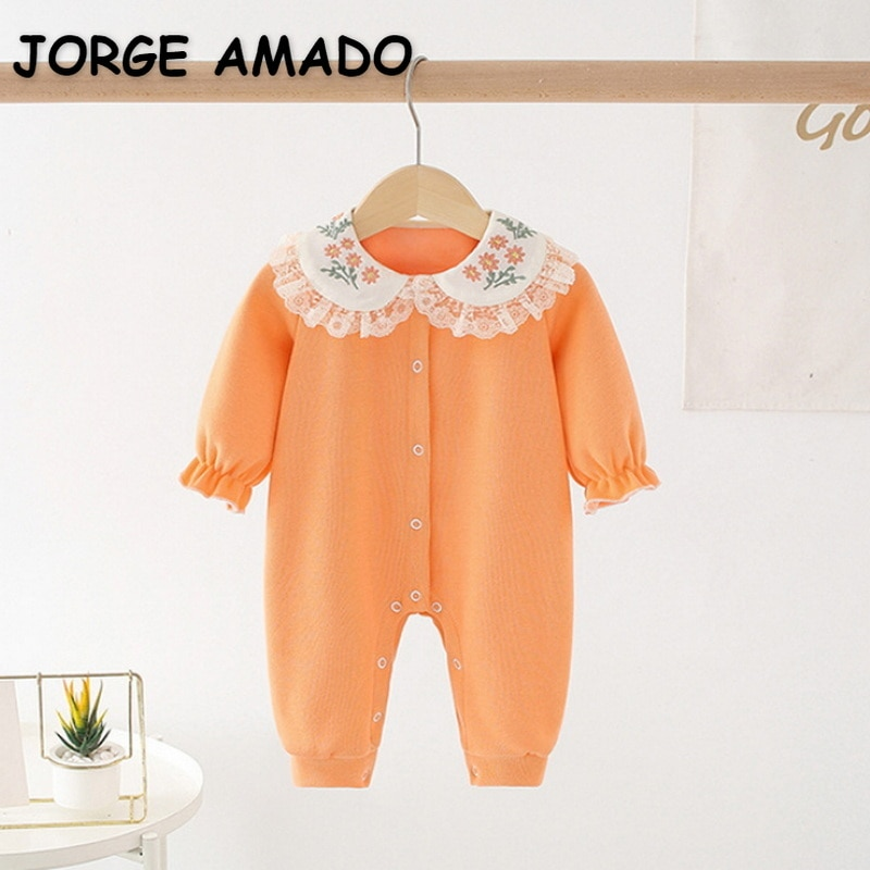 2022 New Spring Baby Girls Romper Orange Patchwork Long Puff Sleeves 100% Organic Cotton Embroider J