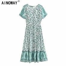 Robe de plage à manches courtes pour femmes, style bohème, chic, Vintage, imprimé floral, vert, robe maxi, botton, été