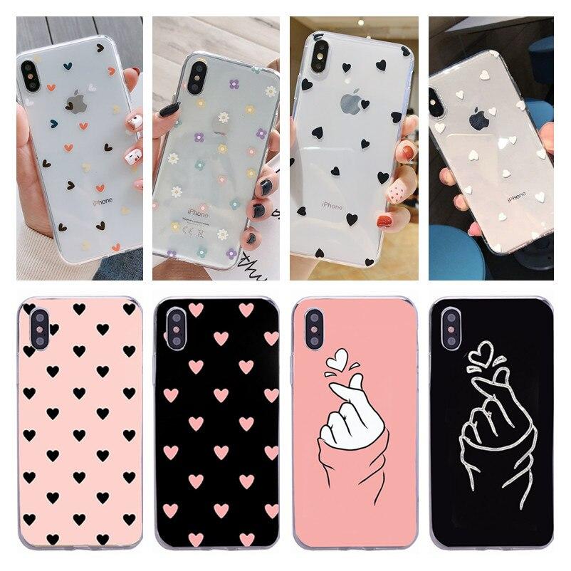 Para o iphone 11 pro x 6 5 5S se caso para fundas iphone 6 s 6 s xs max xr 8 7 plus caso capa coração macio amor preto rosa caso de telefone