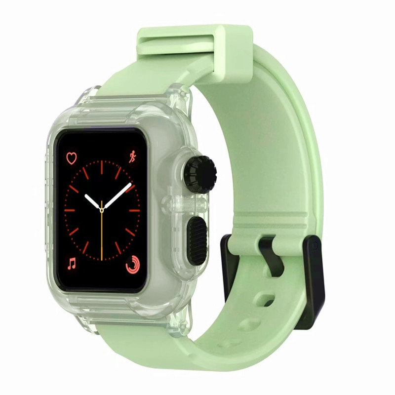 Pulseira à prova dwaterproof água para apple watch 5 banda 44mm 40m iwatch banda 42mm completo protetor caso + luminoso pulseira apple watch 3 4 38 40 44