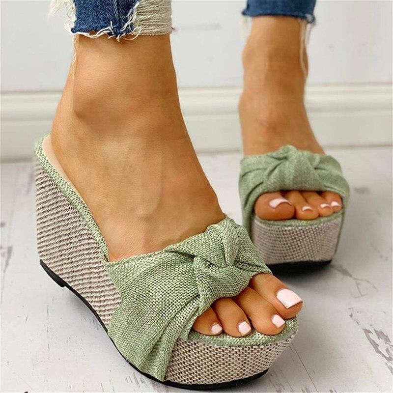 Women Sandals Summer Denim Butterfly Knot Platform Wedges High Heel Peep Toe Casual Fashion Beach Ladies Shoes Zapatos De Mujer