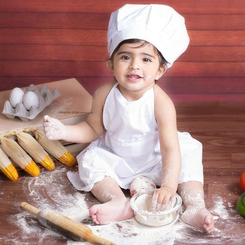 Детская фотография набор шапки шеф-повара белый маленький шеф-повара фартук и шляпа детский белый костюм шеф-повара реквизит для фотосъемк...