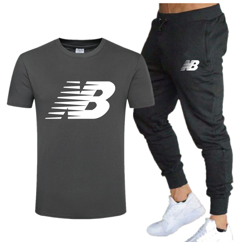 Men's NB printed short sleeves, two-piece cotton T-shirt sweatpants, casual sportswear suit, new brand 2021