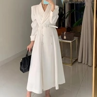 women autumn double breasted elegant shirt dresses notched long sleeve office ladies blazer dress casual loose a line vestido