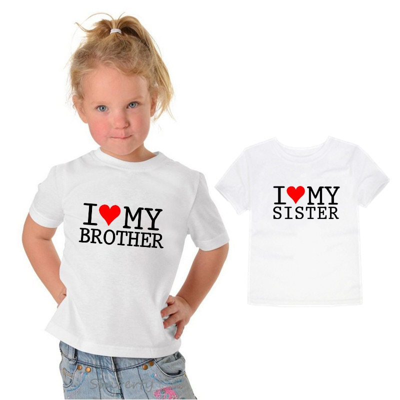 I Love My Sister Brother Children T-shirt Summer Cotton Short Sleeve O-neck T shirt Baby Gilrs Boys Casual Tshirt Kids Clothing
