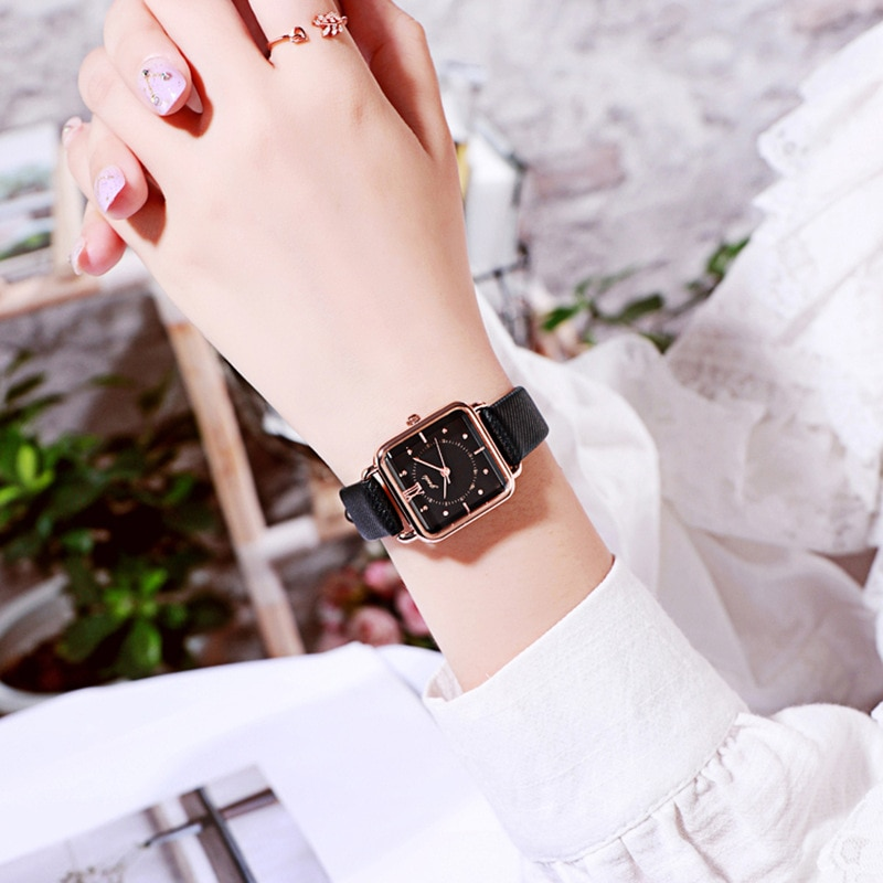 Fashion Retro Square Watch Women Fresh Waterproof Leather Belt Quartz Wrist Watch Luxury Brand Gift for Women Relojes Para Mujer enlarge