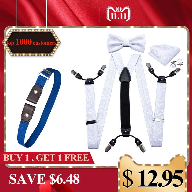 Branco suspensórios para homens calças elásticas de seda cinta cinta floral bowtie conjunto abotoaduras ajustável suspender dom gratuito BD-2006