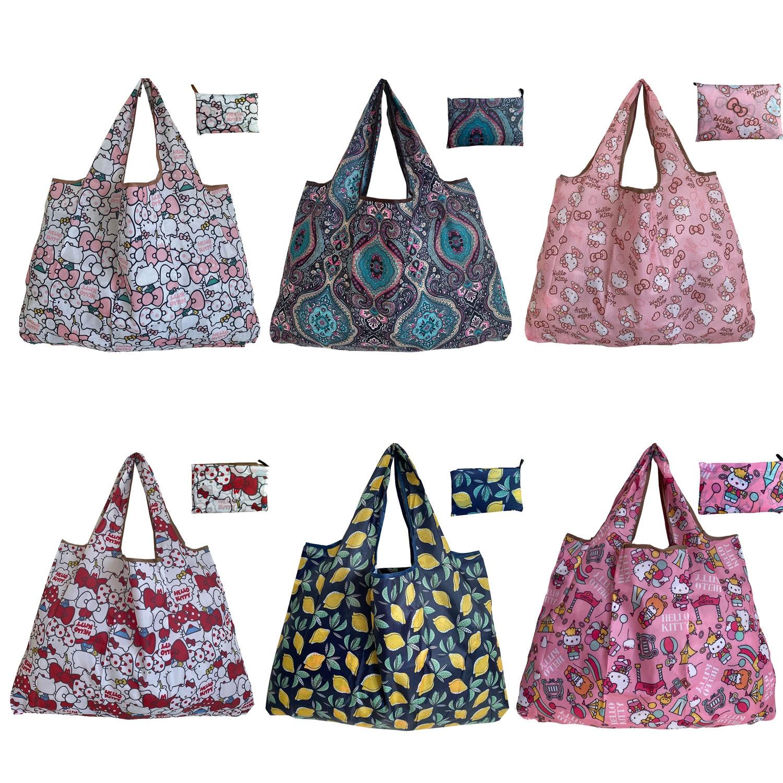 Bolsas de Compras Dobráveis das Bolsalas das Senhoras Lavável na Máquina Bolsas de Supermercado de 6 Bonitos de 50 Peças Podem Reutilizados. Bolsas Eco-amigáveis Libras Ser