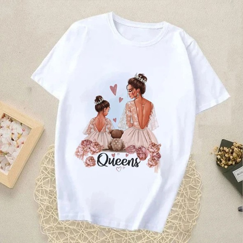 Summer Cute Printed Family Tshirts Mommy and Me Clothes Short Sleeved Tops Unisex Children's Tee Mot