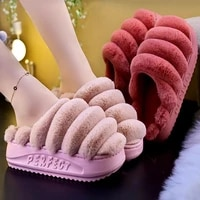 comfortable flurry floor shoes ladies home cute caterpillar slippers womens winter house slippers plush warm female fur slides