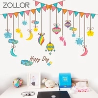 zollor pvc vinyl cartoon starry night hanging flag wall sticker creative toy kid room nursery toy decals removable poster