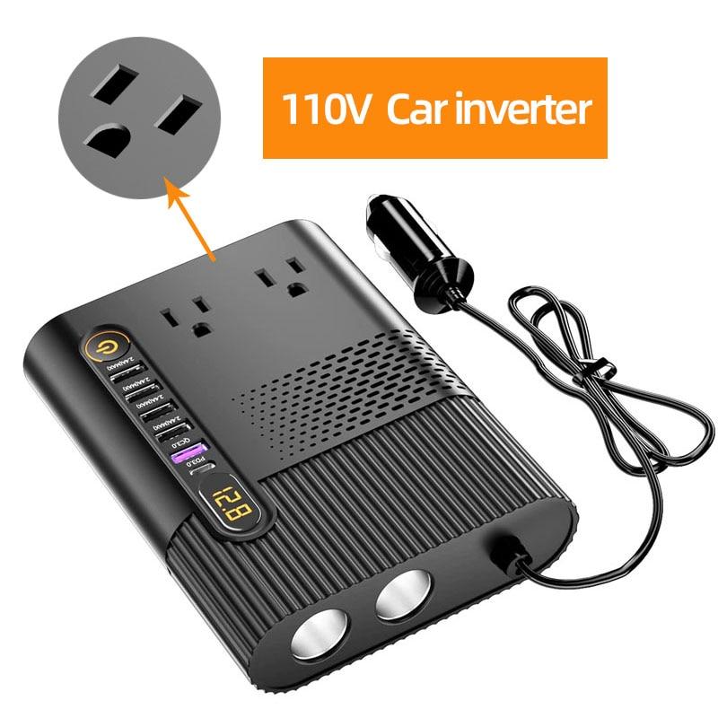 Автомобильный преобразователь 300 Вт, прикуриватель постоянного тока 12 В в переменный ток 110 В, автомобильный конвертер с 6 портами USB для заря...