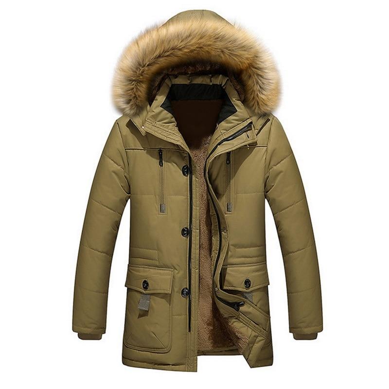 Men's Long Loose Parkas  Male Warm Cotton Hooded Men's Jacket Parkas StreetwearWinter Male Jackets And Coats Fashion