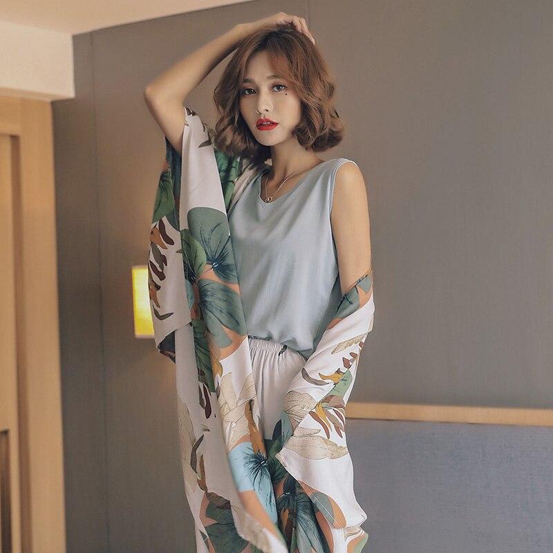 BZEL Flor Impresso Mulheres Pijamas Conjunto Pijamas Sexy Sleepwear Camisola de Algodão de Alta Qualidade Shorts Calças Colete 4 Pedaço Desgaste Casa