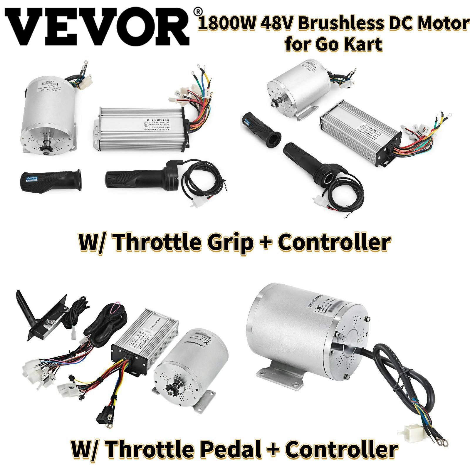 VEVOR محرك تيار مستمر كهربائي دون فرشاة مع سرعة تحكم و خنق قبضة/دواسة 48 فولت 1800 واط 4500 دورة في الدقيقة ل E-سكوتر Go-Karts E-Bike