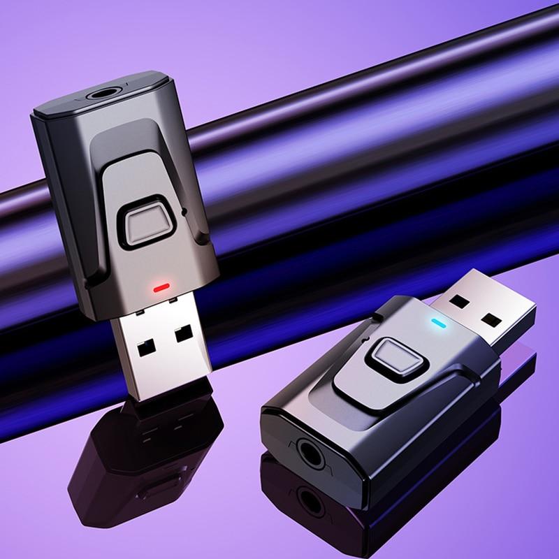 2 in1 usb bluetooth dongle 5.0 aux transmissor de áudio/receptor adaptador tv/carro/pc