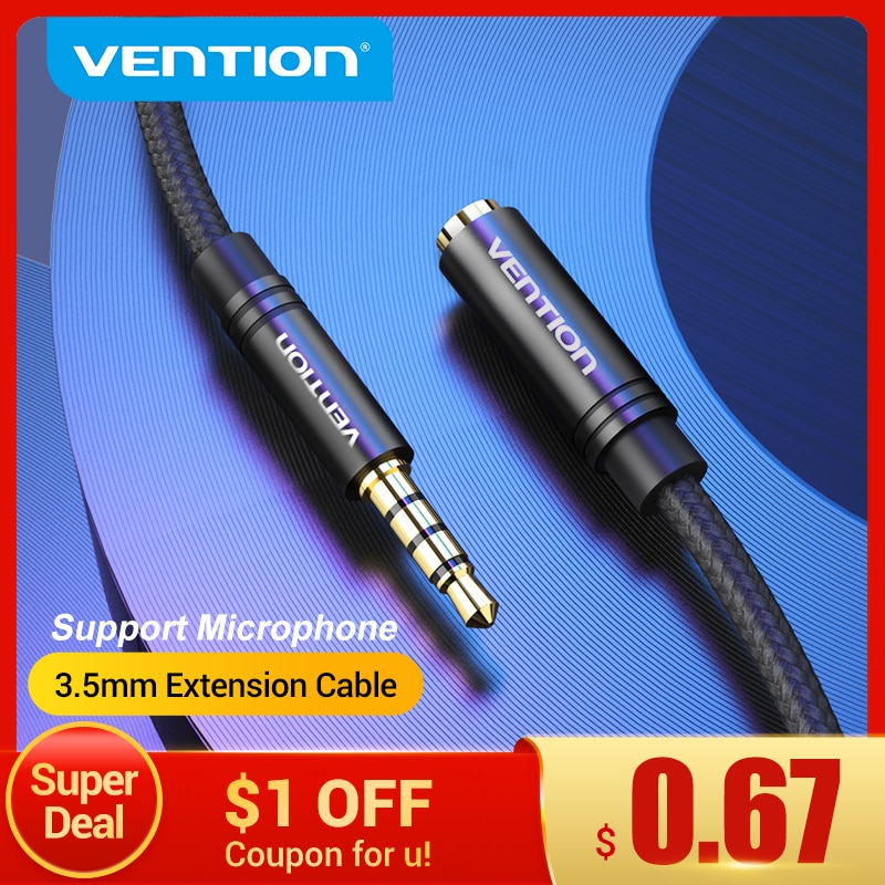 Vention Jack 3.5 Aux Extension Cable for Car Laptop Mini PC TV Xiaomi Huawei Stereo 3.5 mm Jack Headphone Speaker Cable Auxiliar