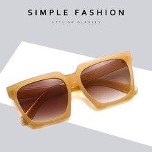 black Oversized Flat Top sun glasses for woman 2021 Big Square Gradient women's sunglasses Fashion B