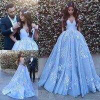 sky blue arabic dubai v neck prom dresses special occasion dresses a line cap sleeve lace appliques long party dresses