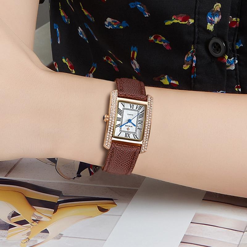 Reloj Mujer Luxury Diamond Watch For Women WWOOR Fashion Ladies Square Brown Genuine Leather Wristwatch Women Bracelet Watch Box enlarge