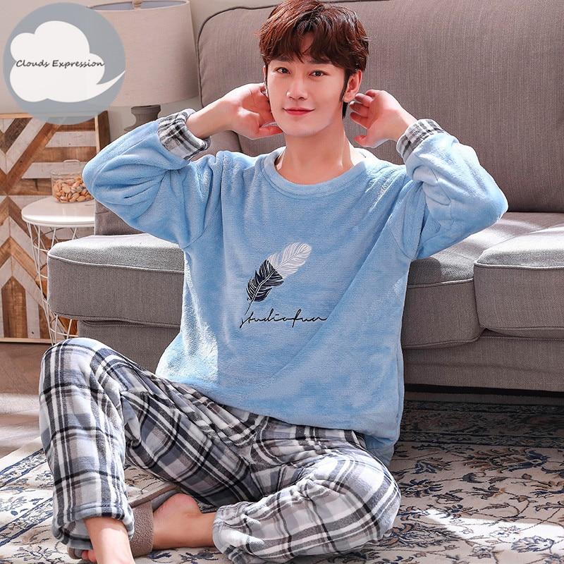 Autumn Winter Long Sleeve Warm Flannel Men's Cartoon Pajama Sets Thick Men Sleepwear Coral Fleece Sleep Lounge Pajamas Clothing