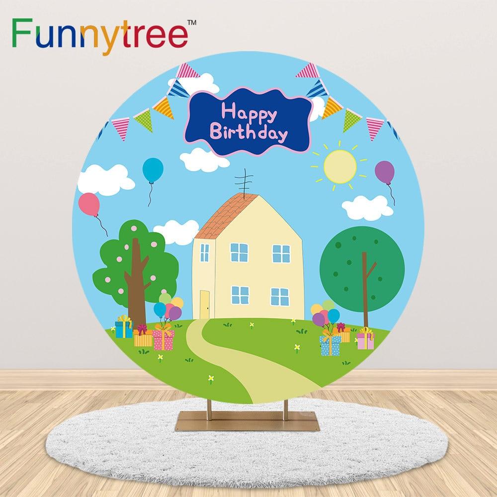 Funnytree-غطاء خلفية دائري على شكل خنزير ، منزل ، شجرة ، دائرة ، خلفية لحفلات أعياد الميلاد ، حفلة ما قبل الولادة ، خلفية للأطفال ، تصوير كشك الصور