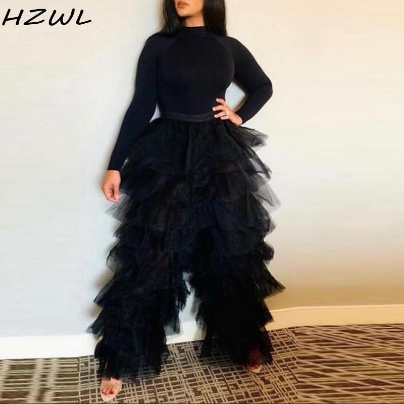 فستان سهرة طويل من التول ، أسود ، متعدد المستويات ، بنطلون فقط ، فستان سهرة رسمي