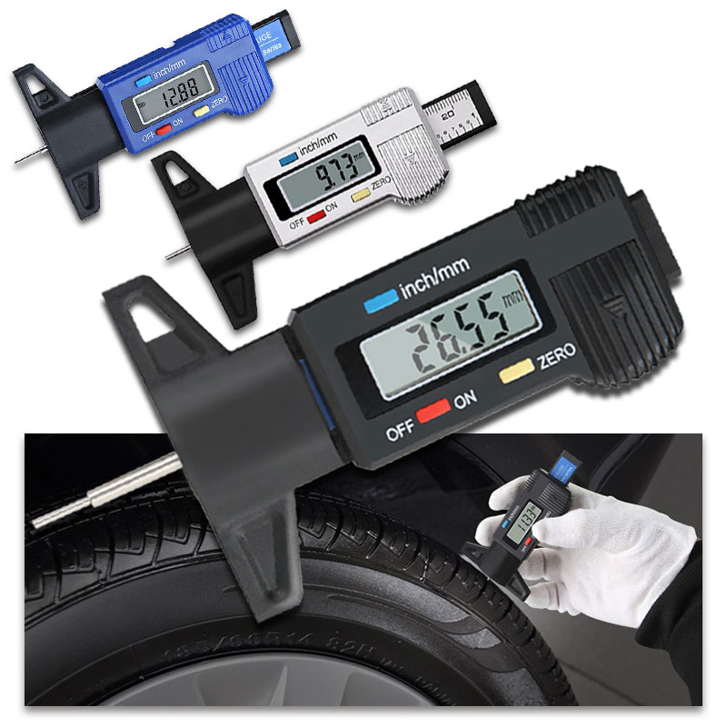 Digital depth gauge caliper tread depth gauge LCD Tyre tread gauge For Car Tire 0-25mm Measurer Tool Caliper